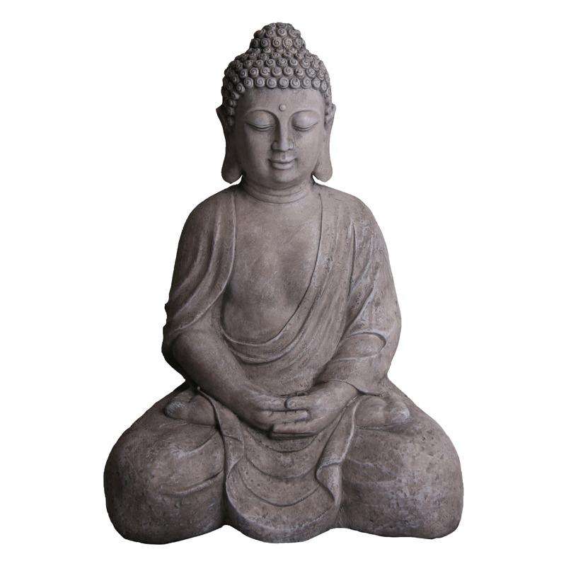 Polyhars Boeddha beeld grijs 71 cm