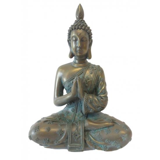 Polyresin Boeddha brons beeld 18 cm