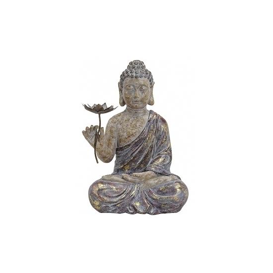 Polystone beeld Boeddha met bloem 48 cm