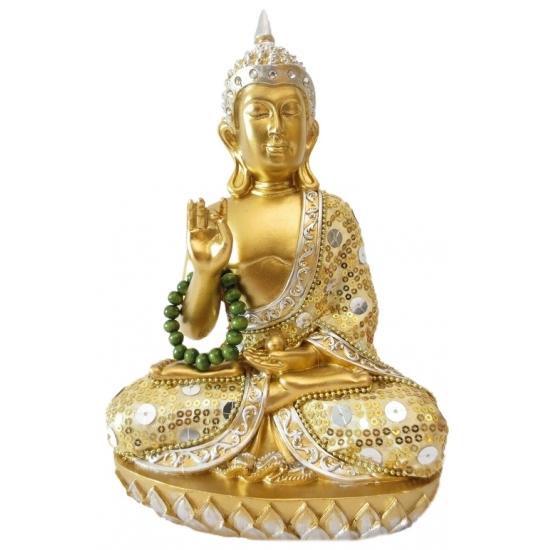 Polystone Boeddha goud beeldje met ketting Thais 22 cm