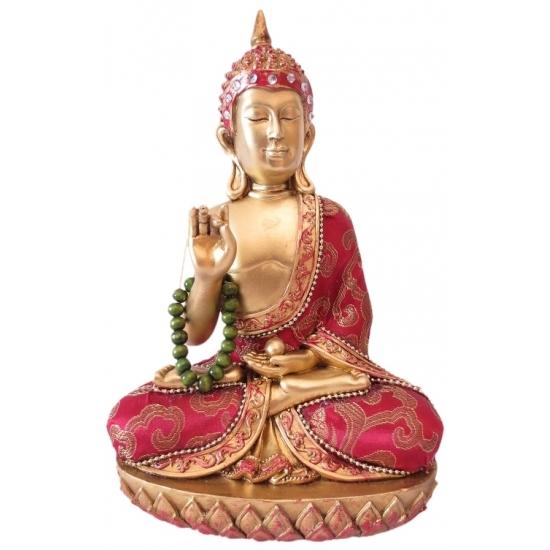 Polystone Boeddha goud/rood beeldje met ketting Thais 22 cm