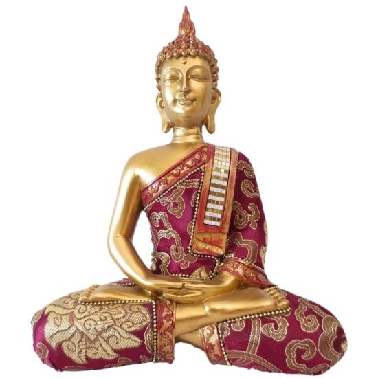 Polystone Boeddha goud/rood beeldje Thais 25 cm