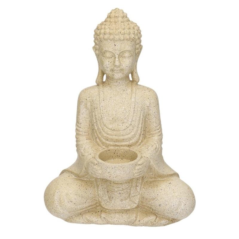 Polystone waxine houder Boeddha 27 cm