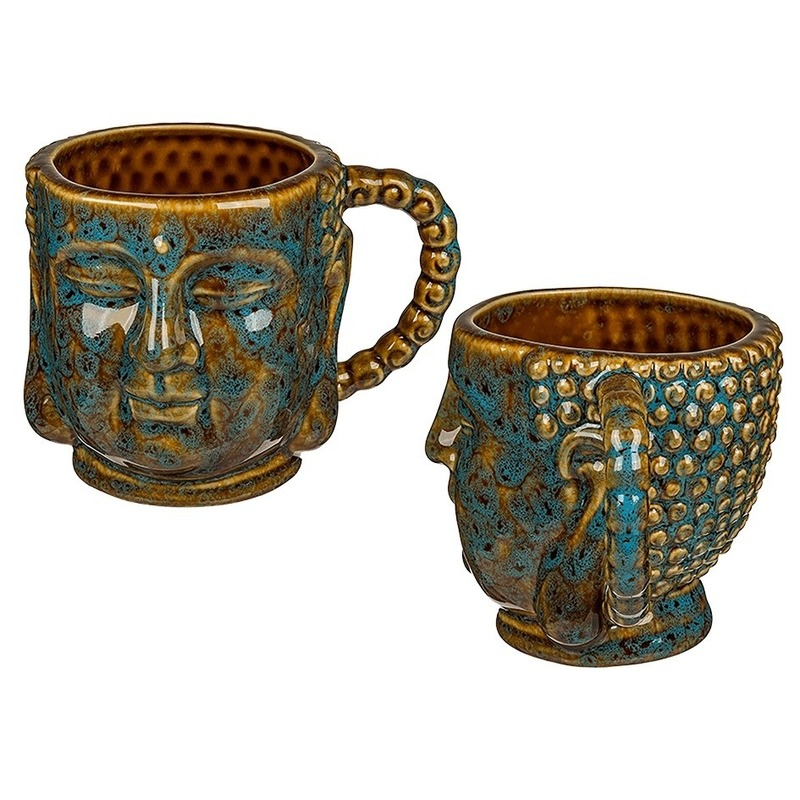 Porseleinen Boeddha koffie mok 11 x 10 cm