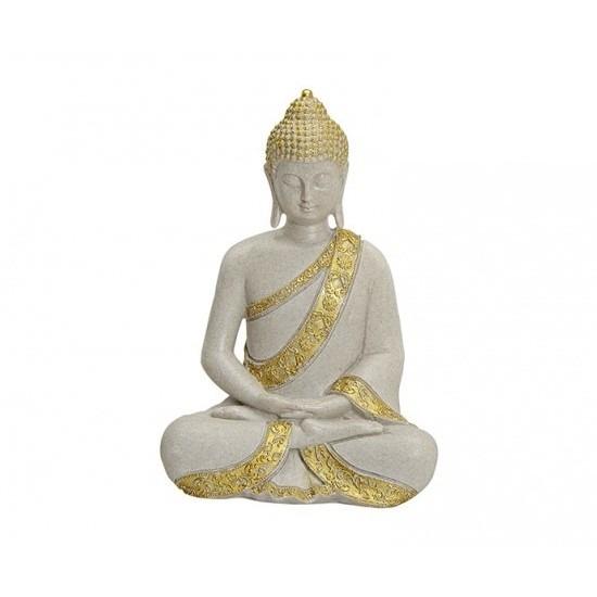 geenTuindecoratie boeddha beeld goudkleurig 29 cm