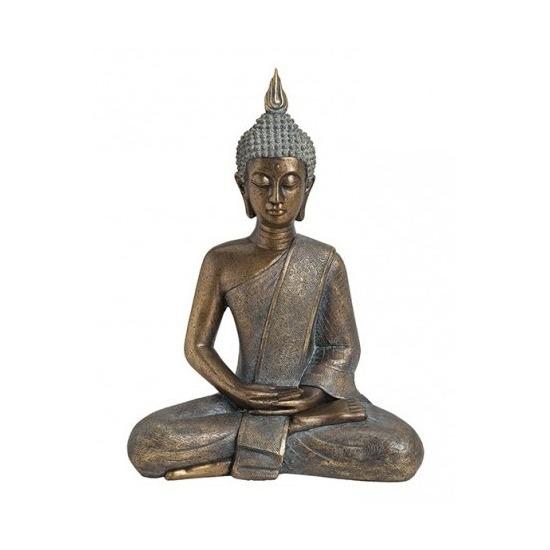 Tuindecoratie boeddha beeld goudkleurig 43 cm