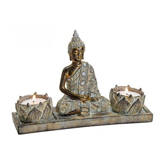 Tuindecoratie boeddha beeld met 2 waxinelichthouder bruin 20 cm