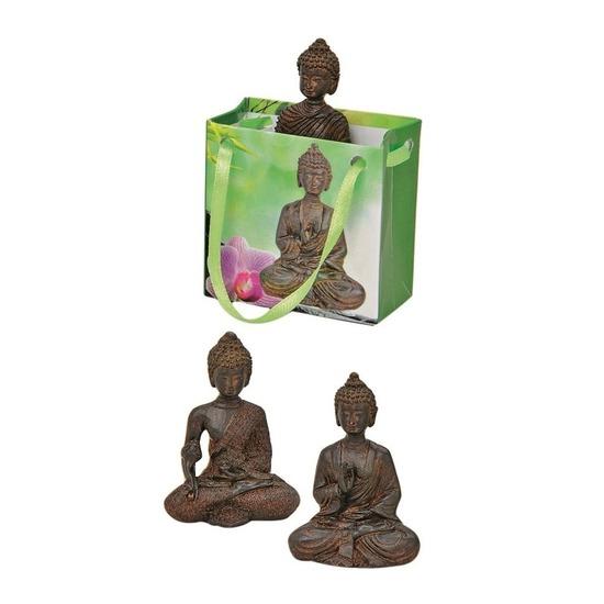 Tuindecoratie boeddha beeld met kadotas bruin 5,5 cm