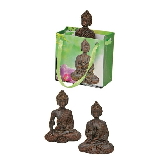 Tuindecoratie boeddha beeld met kadotas bruin 8 cm