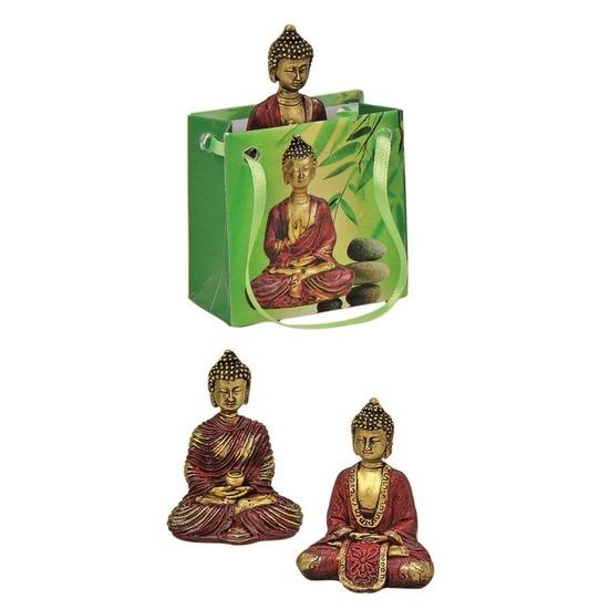Tuindecoratie boeddha beeld met kadotas rood/goud 8 cm