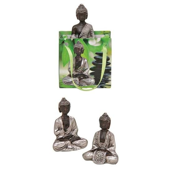 Tuindecoratie boeddha beeld met kadotas zilver 8 cm