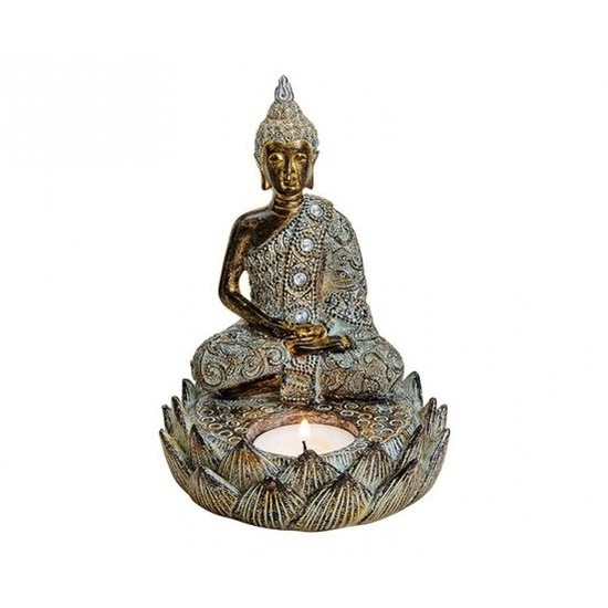 Tuindecoratie boeddha beeld met waxinelichthouder bruin 15 cm