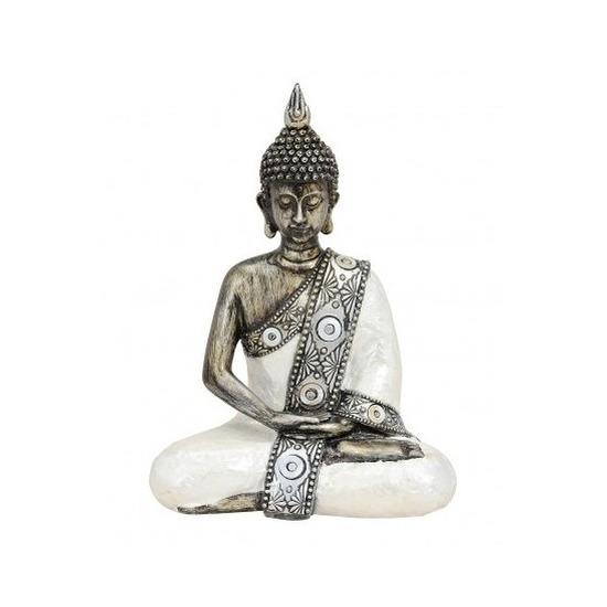 Tuindecoratie boeddha beeld zilverkleurig 21 cm