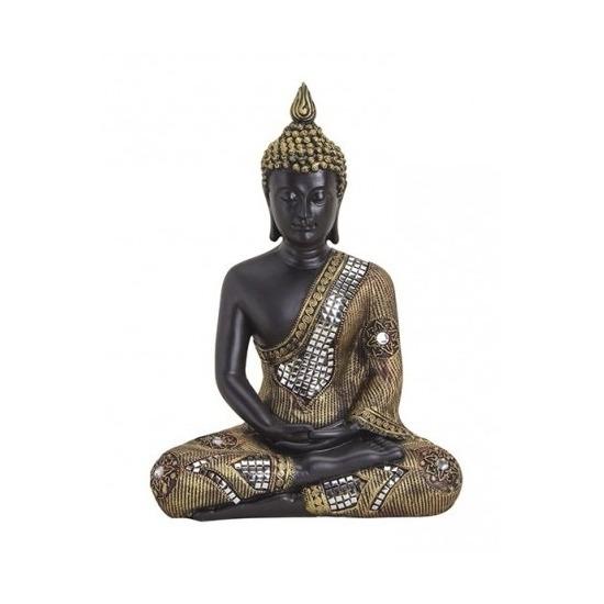 Tuindecoratie boeddha beeld zwart/goud 27 cm