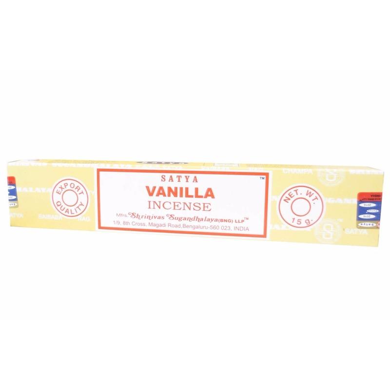 Wierook vanillegeur ontspanning/meditatie stokjes Nag Champa