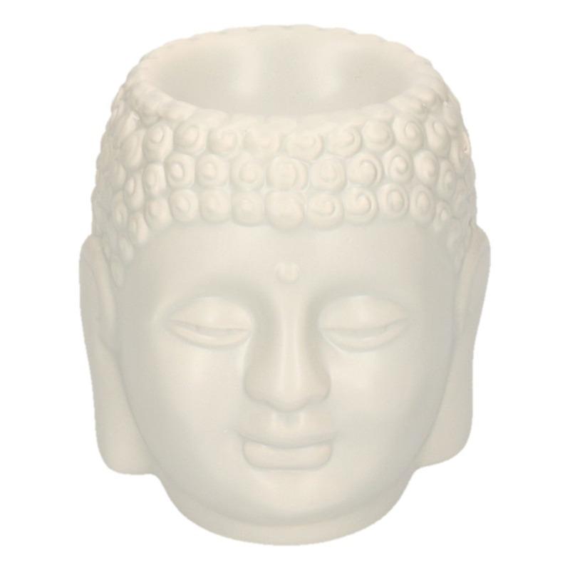 Witte Boeddha theelichthouder/waxbrander 14 cm