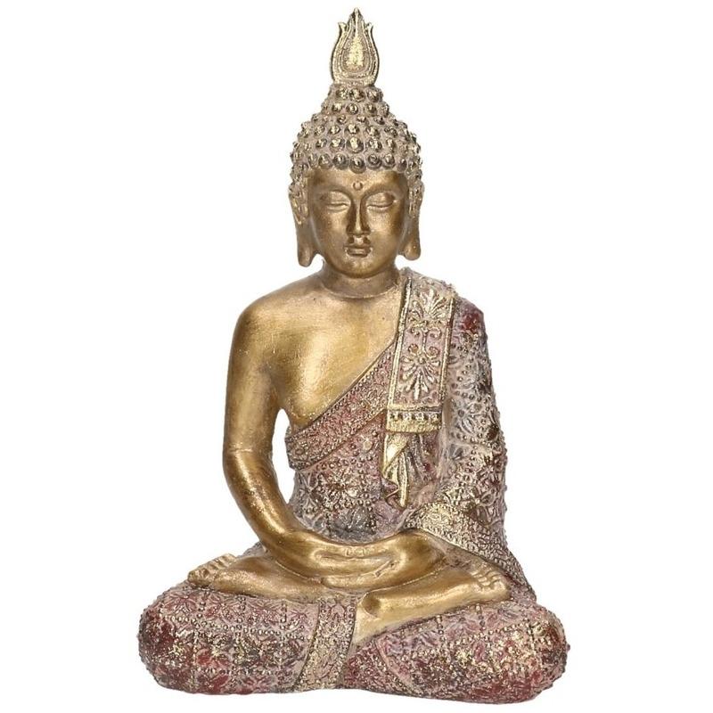 Woondecoratie boeddha beeld zittend 20 cm