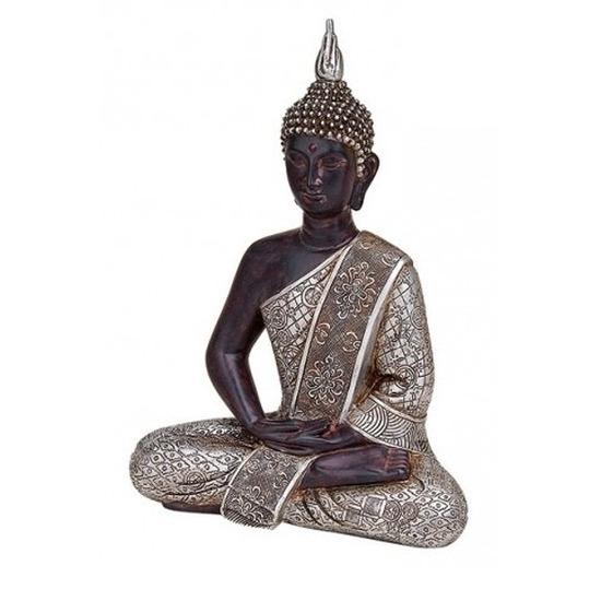 Woondecoratie boeddha beeld zittend 29 cm