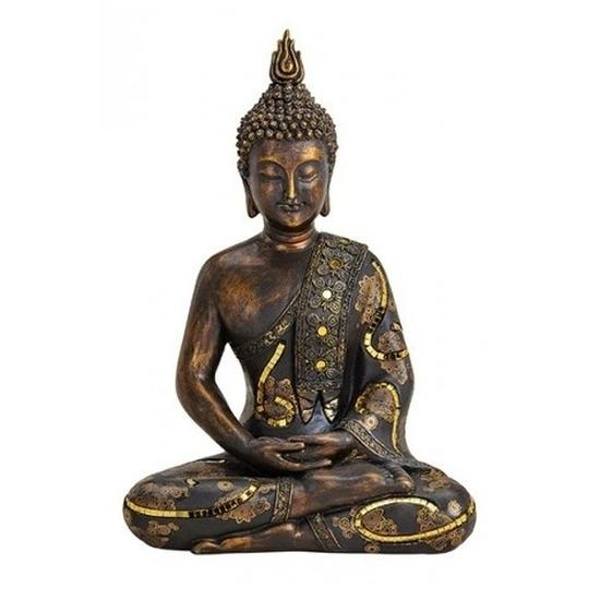 Woondecoratie boeddha beeld zittend 36 cm