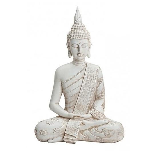 Woondecoratie boeddha beeld zittend 40 cm