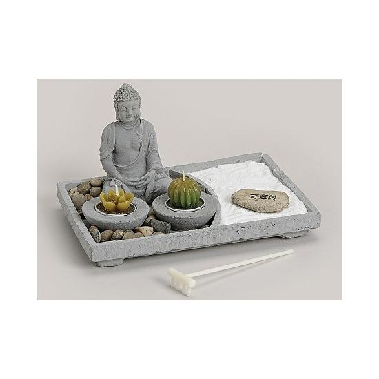 Zen tuintje met theelichtjes 24 x 16 cm