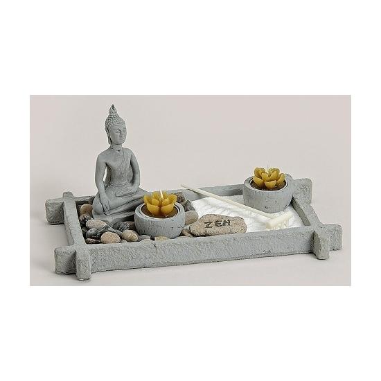 Zen tuintje met theelichtjes 30 x 17 cm