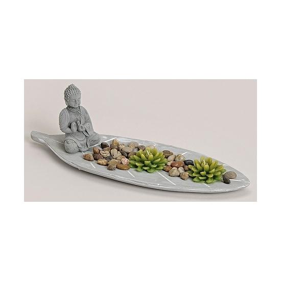 Zen tuintje met theelichtjes 45 x 15 cm