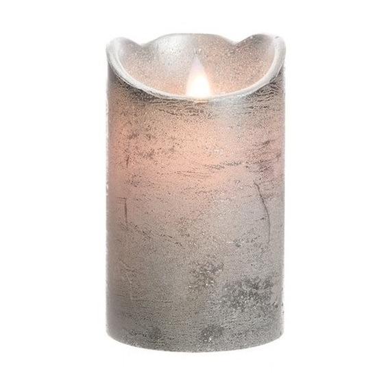Zilveren LED kaarsen-stompkaarsen 12 cm flakkerend