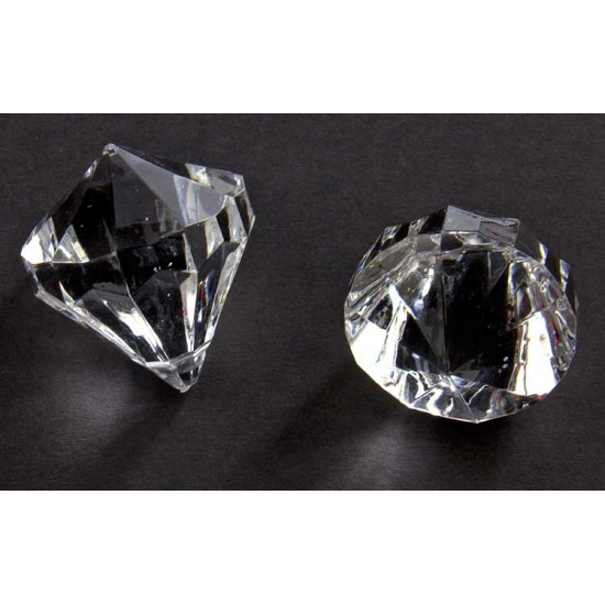 2x stuks deco Diamantjes transparant 30 mm